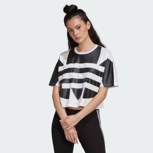 Adidas Large Logo Short Sleeve Cropped T-shirt Lg
